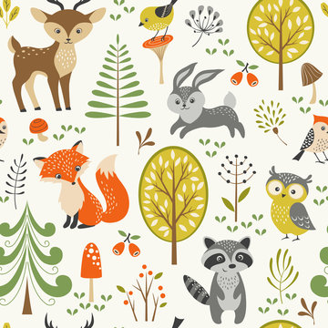 Seamless summer forest pattern with cute woodland animals, trees, mushrooms and berries