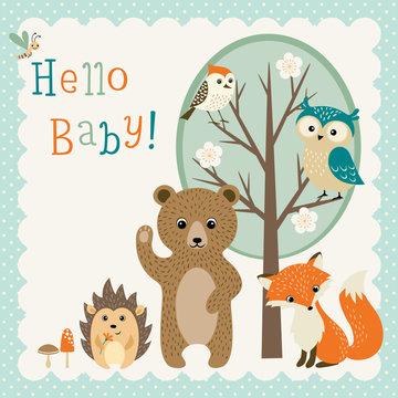 Baby shower design with cute woodland animals