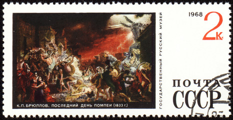 "Picture ""The last day of Pompeii"" by Karl Bryullov on post stamp"