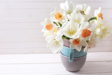 Background with fresh narcissus in vase
