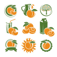 Peach labels and elements set. Vector