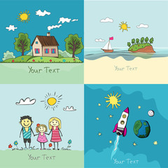 set of children's drawings. happy family, cozy house, ocean land
