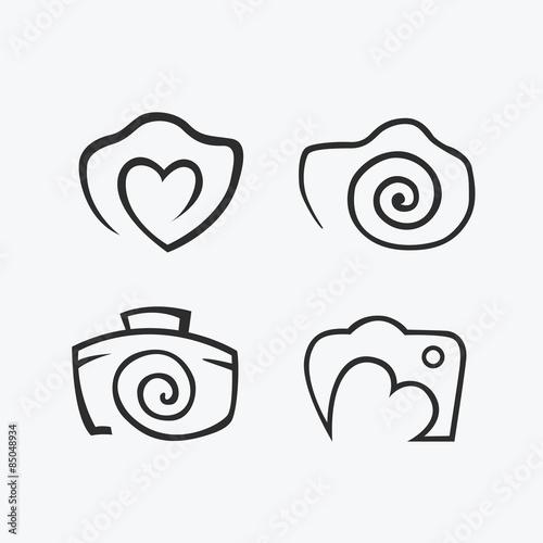 Photos Logo. Camera, logo vector set. Trendy Hipster camera. pho ...