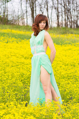 The girl in the way of spring, summer. 