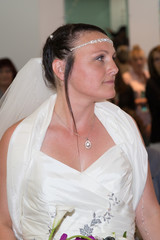 Lovely and nice Bride outdoors on her wedding day