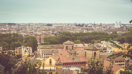 Rome, Italy: cityscape from above, vintage filter applied