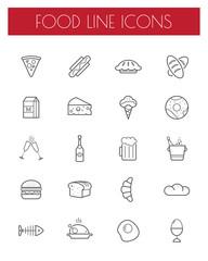 Thin line food icons set.