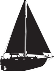 vector illustration of black yacht isolated on white background.