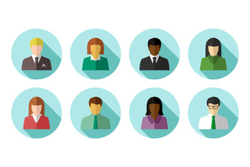 Flat avatar set of multiracial business poeple