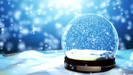 Christmas Snow globe Snowflake with Snowfall on Blue Background Wall mural