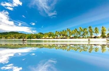 kohngai island at trang Thailand in the reflection