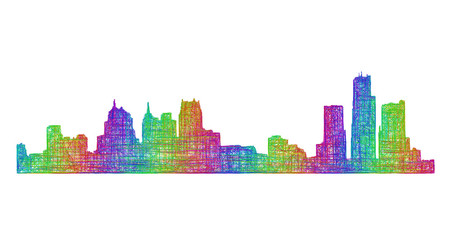 Detroit city skyline silhouette - multicolor line art