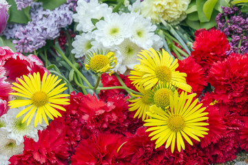 Yellow daisies and red carnations.