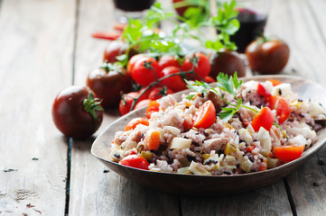 Traditional italian rice salad with tuna and vegetables