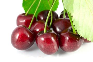 Cherry z leaf on bіlomu fonі
