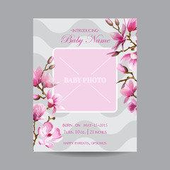 Baby Arrival Card with Photo Frame - Magnolia Flowers Theme