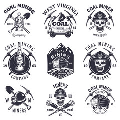 Set of vintage coal mining emblems