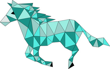 vector illustration of a blue origami horse