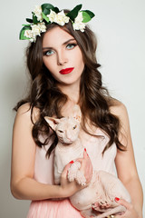 Fashion Woman and Cat. Beauty Portrait