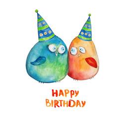 2 birds. Happy birthday. Watercolor