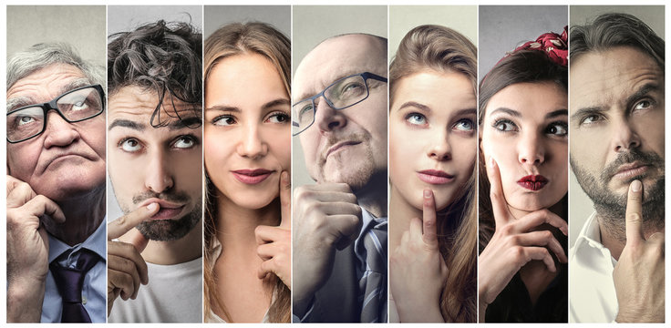 Portraits of people thinking