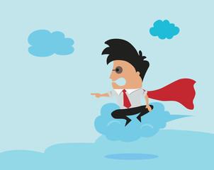 Man flying on cloud