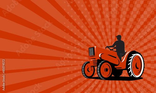 Business Card Farmer Driving Vintage Tractor Retro Stock