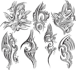 Doodle Tattoo symbols isolated on white background