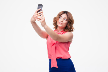 Elegant cute woman making selfie photo