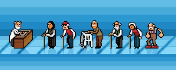old people waiting in line in hospital pixel art vector layers illustration