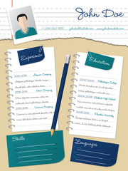 Cool new curriculum vitae resume with notepapers and pencil