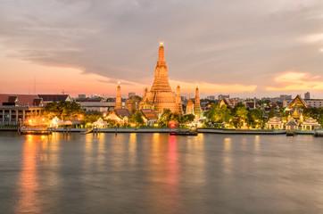 Wat Arun in night ,Bangkok city ,Thailand