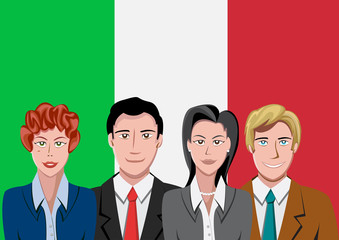 Italian people front of the flag