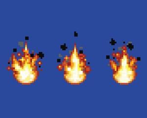 Raging flame - animation frames video game asset pixel art vector layer illustration