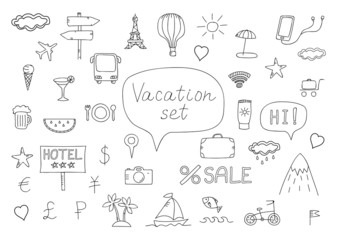 Vacation doodles .Handmade icons collection of travel.