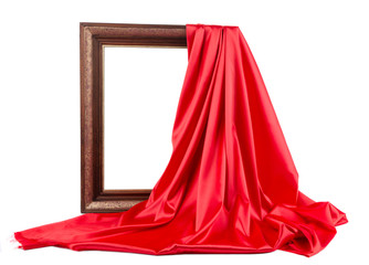 Wooden frame with red silk.