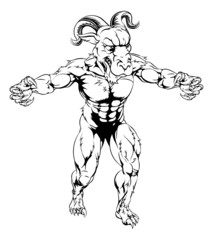 Ram mascot with claws out