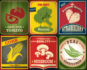 Vintage Farm fresh poster design set