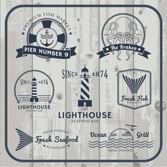 Nautical and seafood labels set