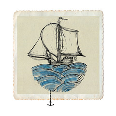 Sailing ship on waves, artistic ink and watercolor drawing on paper, vintage sea card isolated on white, conceptual illustration.