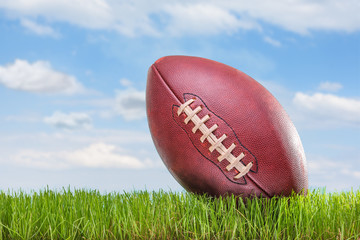 American football on a field outdoors
