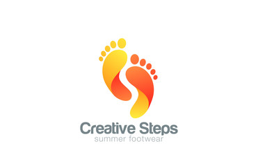 Foot steps Logo abstract vector template...Creative footsteps fo