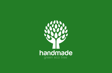 Hands Holding Tree with leaves Logo Abstract circle shape...Eco