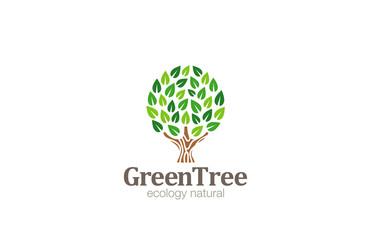 Green Tree Logo Abstract Circle shape design vector template...E