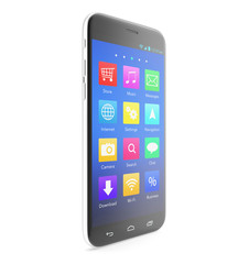 Smartphone touchscreen phone with applications on the screen