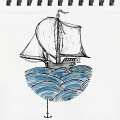 Sailing ship on waves, artistic ink and watercolor drawing on paper,  pen and ink drawing on paper texture, notebook page artwork.
