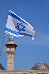 Israel national flage and Al-Aqsa Mosque in Jerusalem Old City I