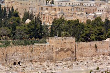 The Golden Gate in Jerusalem Old City Walls - Israel