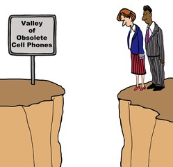 Cartoon of two businesspeople looking into a deep valley, the sign says 'valley of obsolete cell phones'.