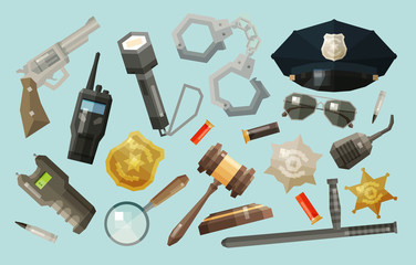 police, security icons set. collection of elements - baton